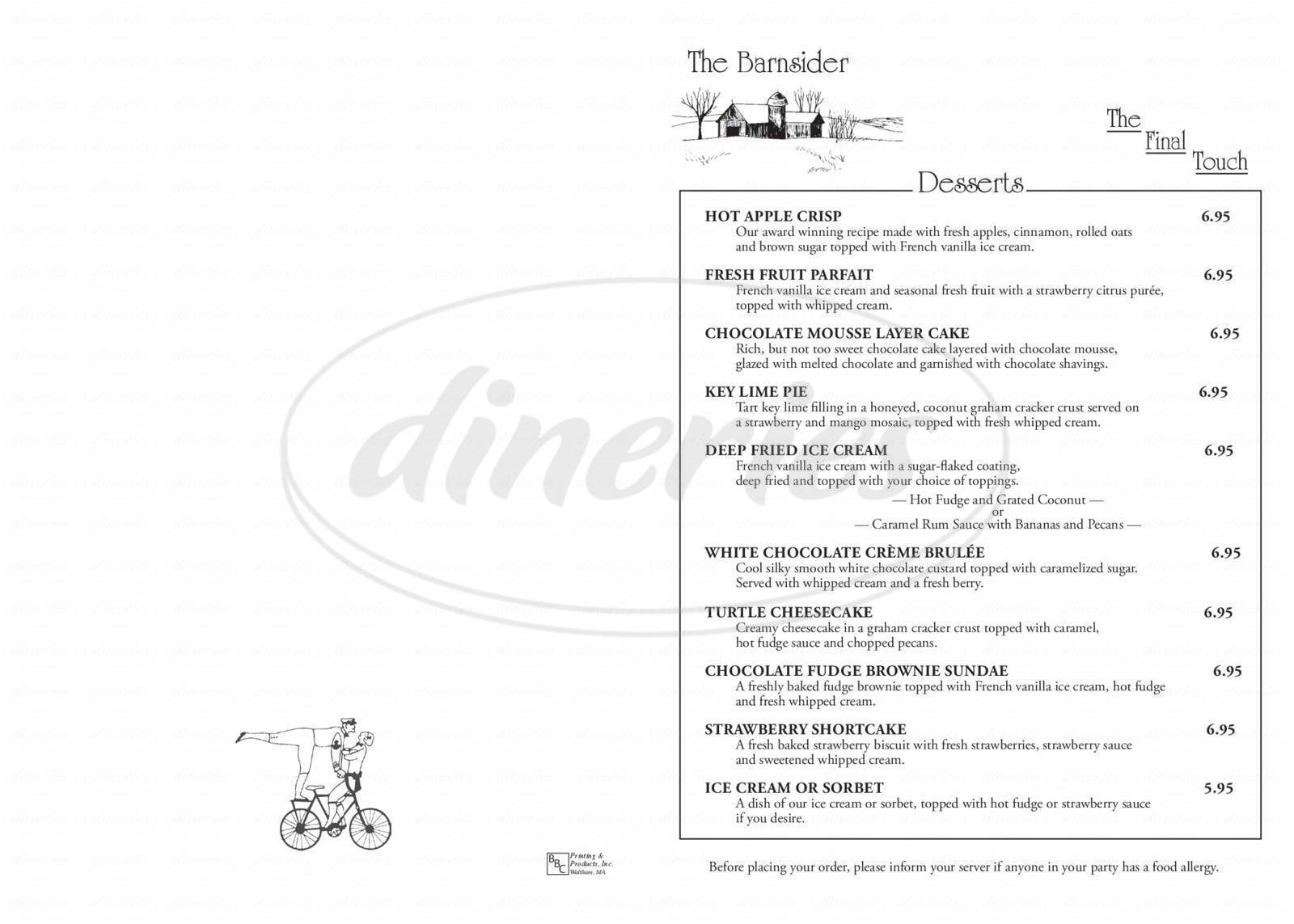 menu for Barnsider
