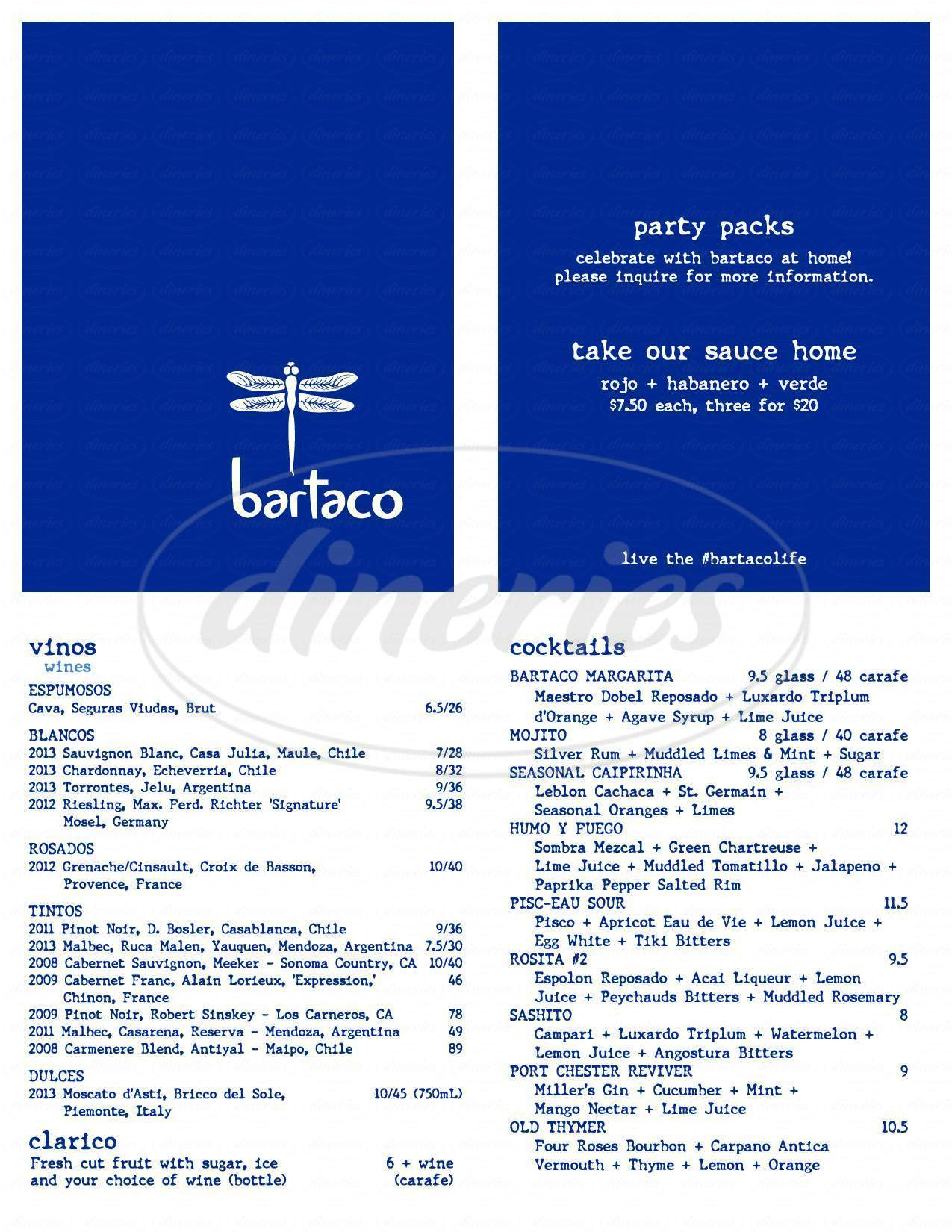 menu for Bartaco