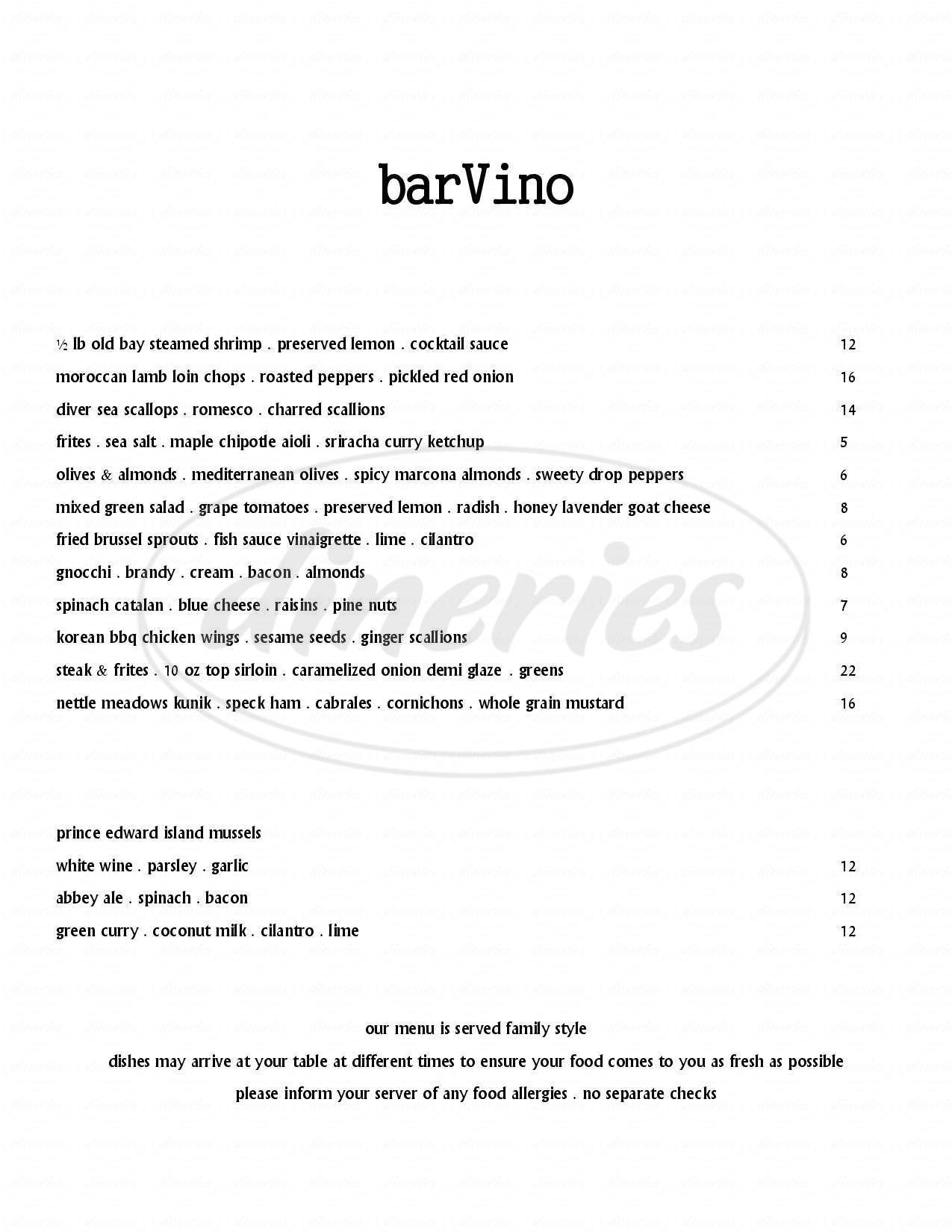 menu for barVino