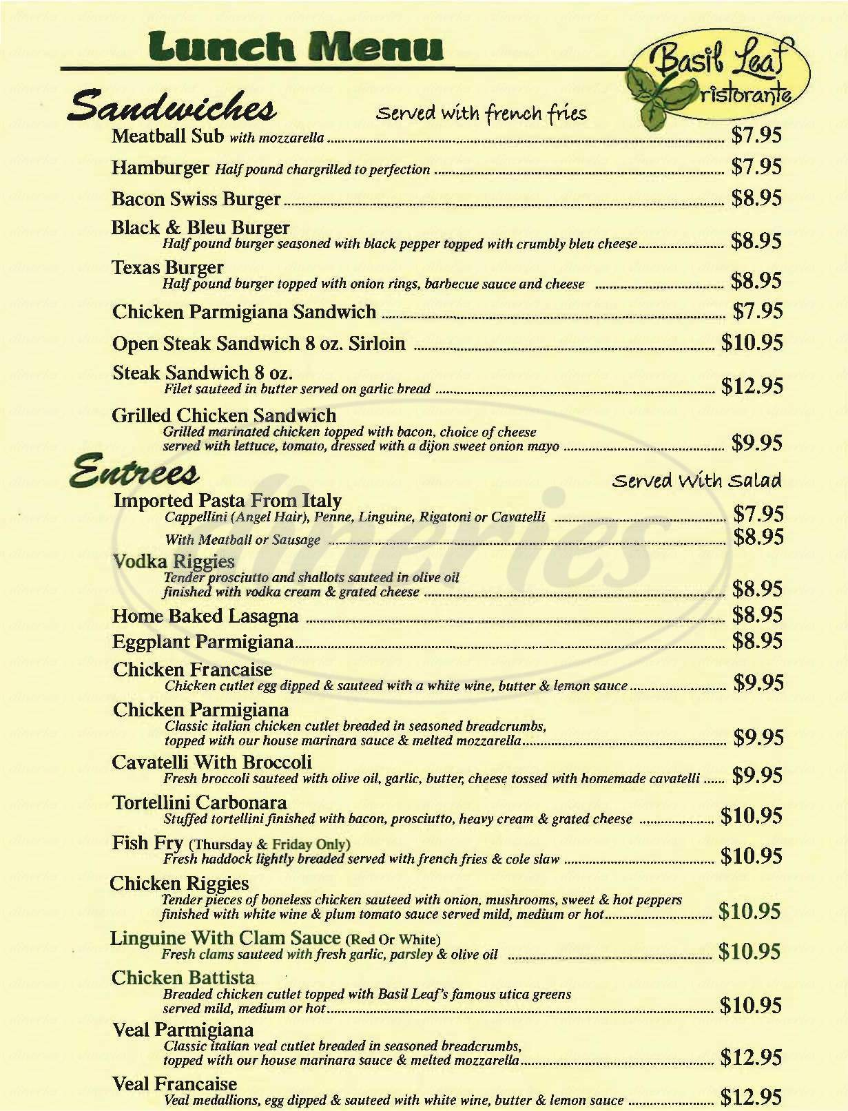 menu for Basil Leaf Ristorante