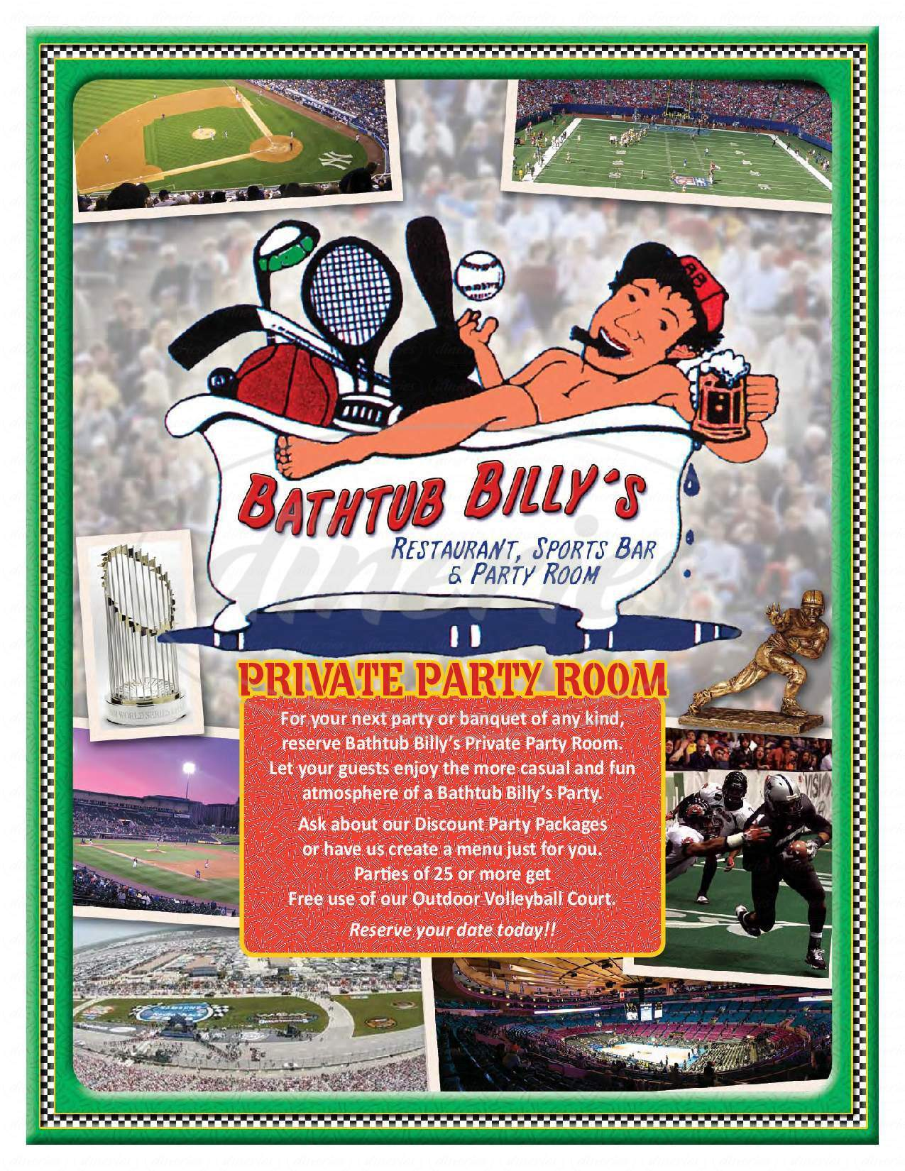 menu for Bathtub Billy's Sports Bar & Restaurant