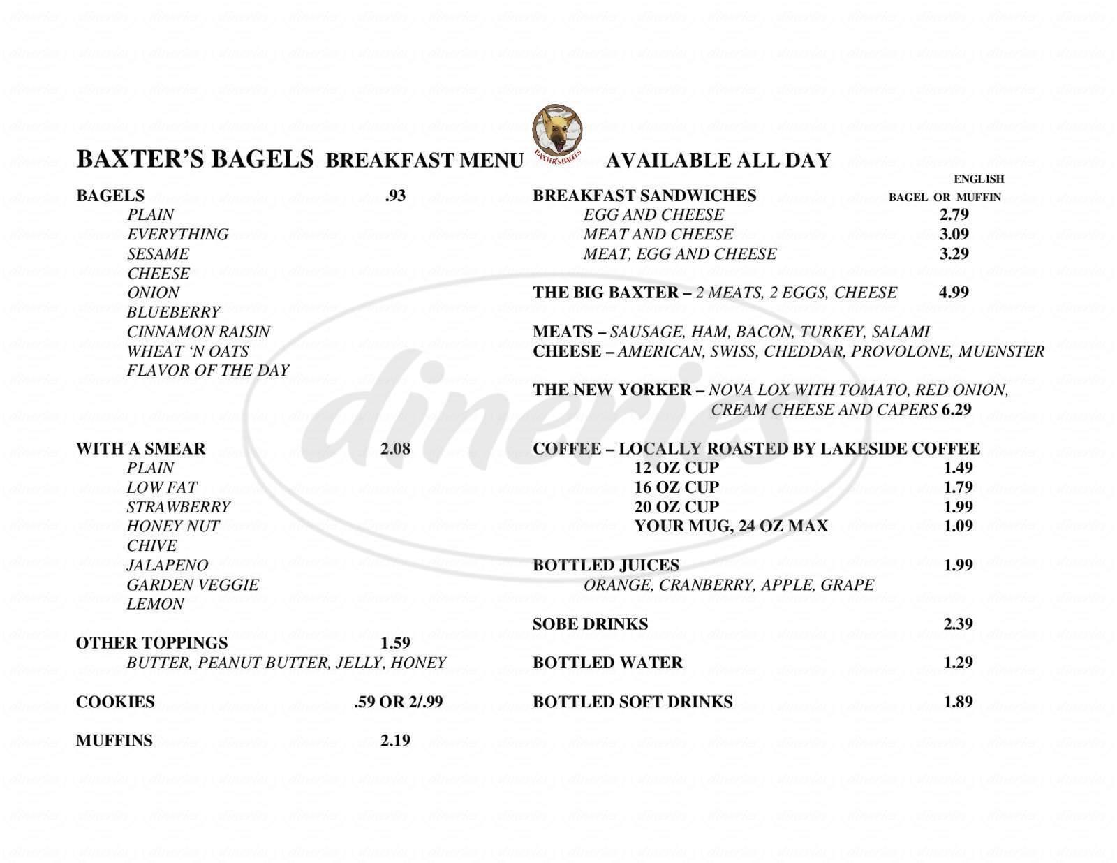 menu for Baxter's Bagels