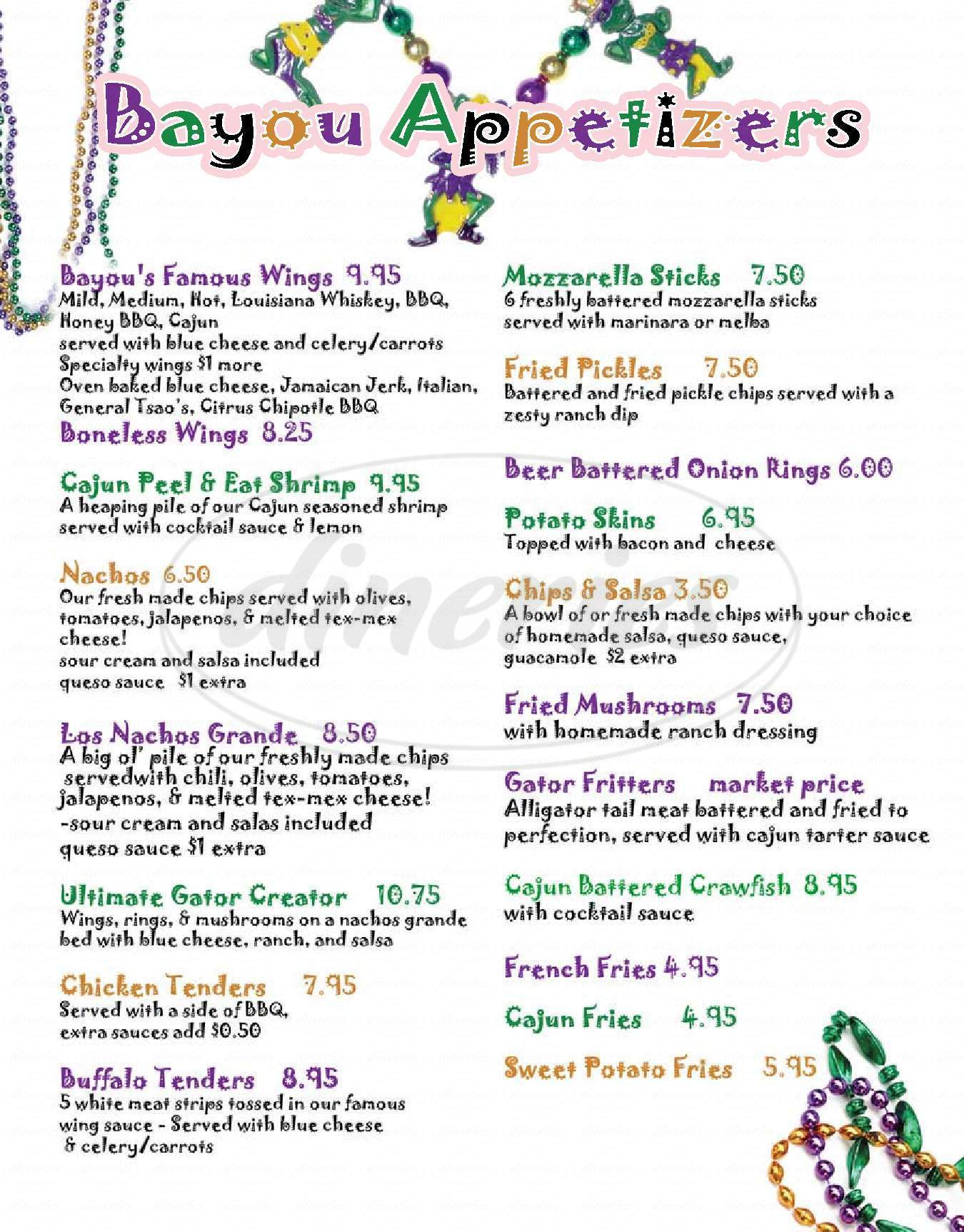 menu for Bayou Cafe