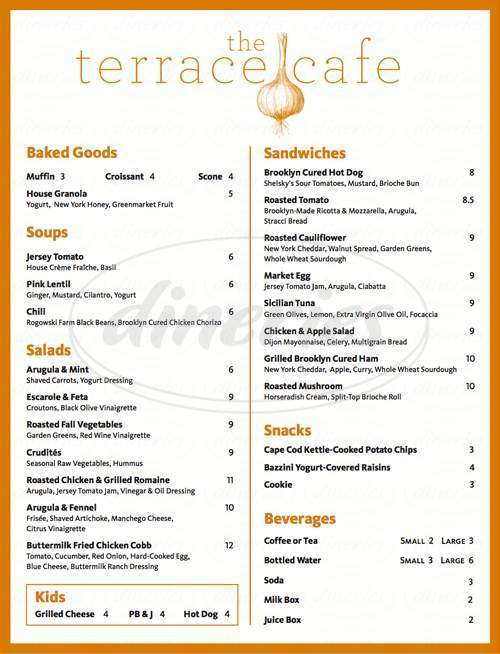 menu for The Terrace Cafe