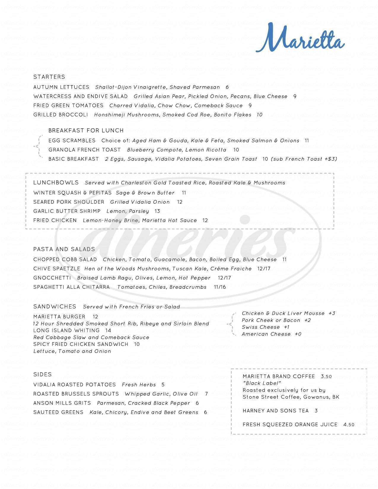 menu for Marietta