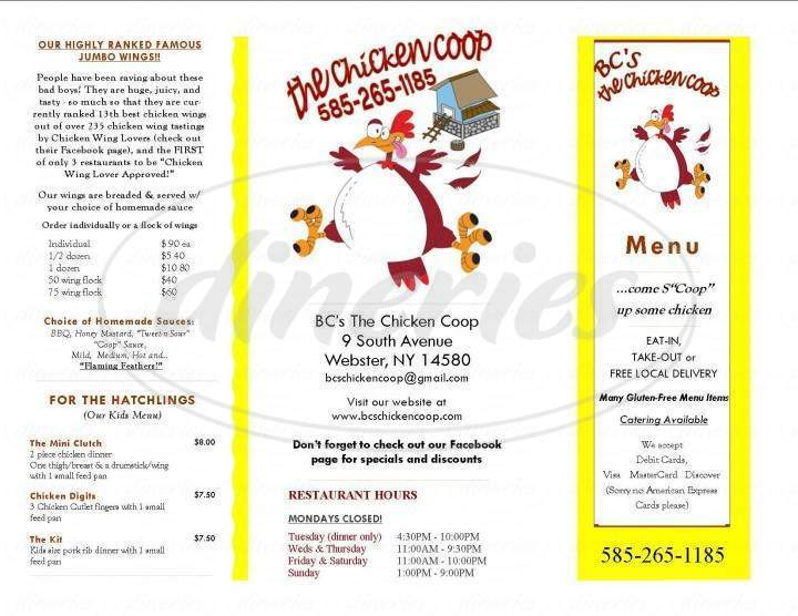 menu for BC's Chicken Coop