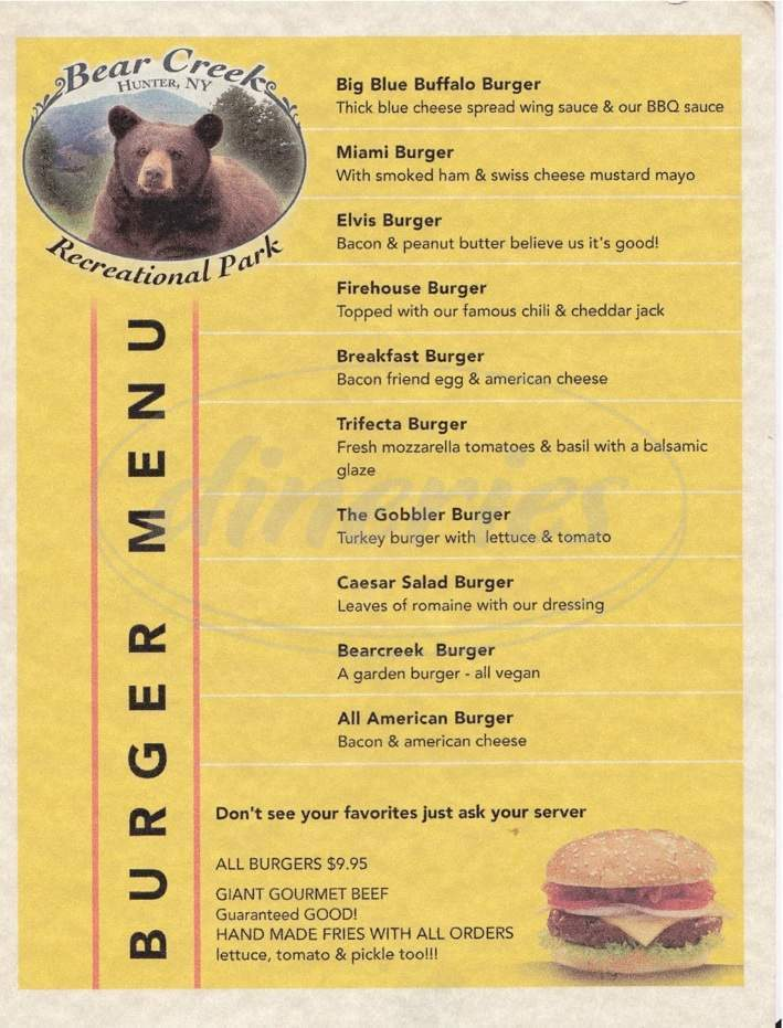 menu for Bear Creek Restaurant & Recreational Park
