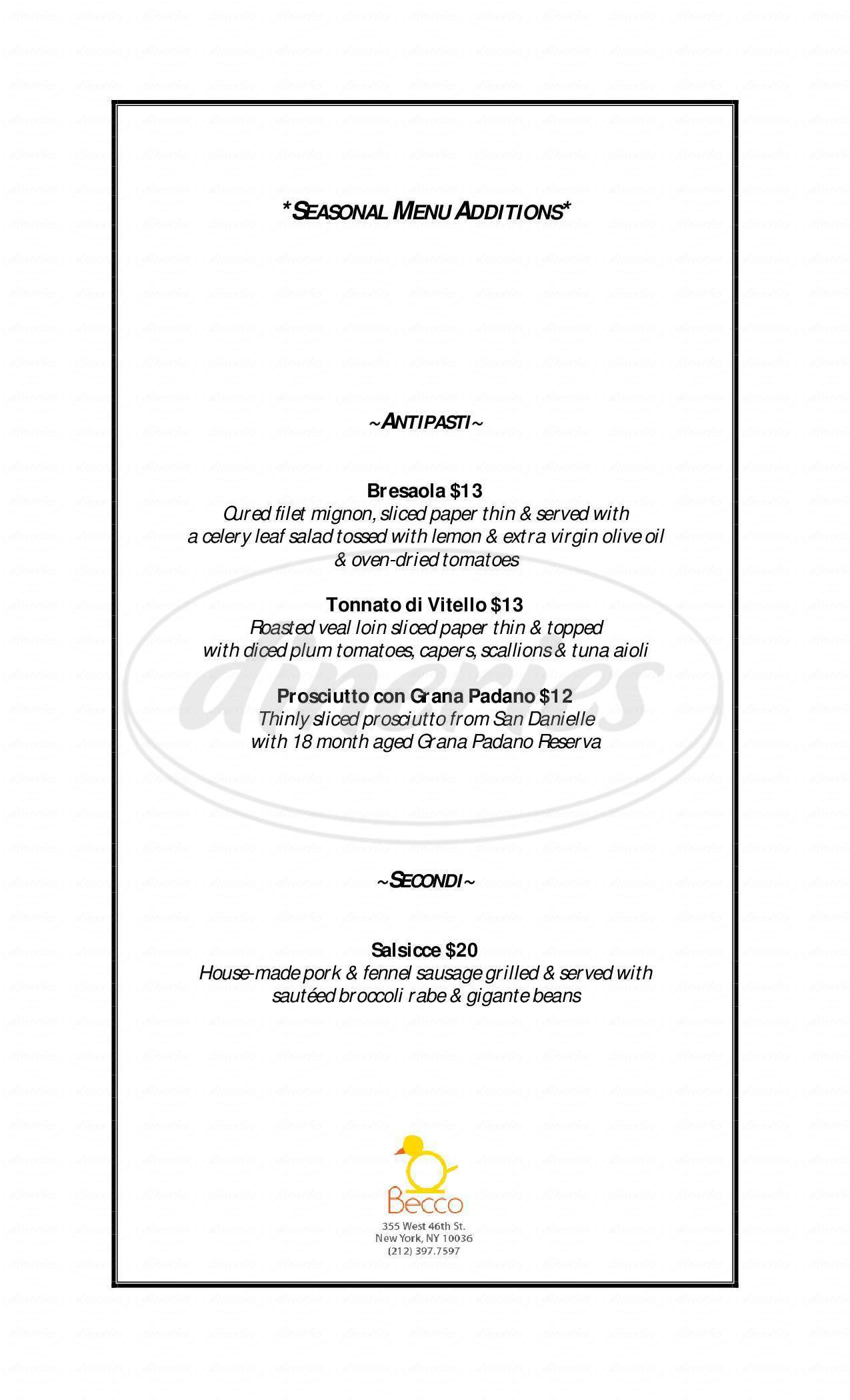 menu for Becco Restaurant