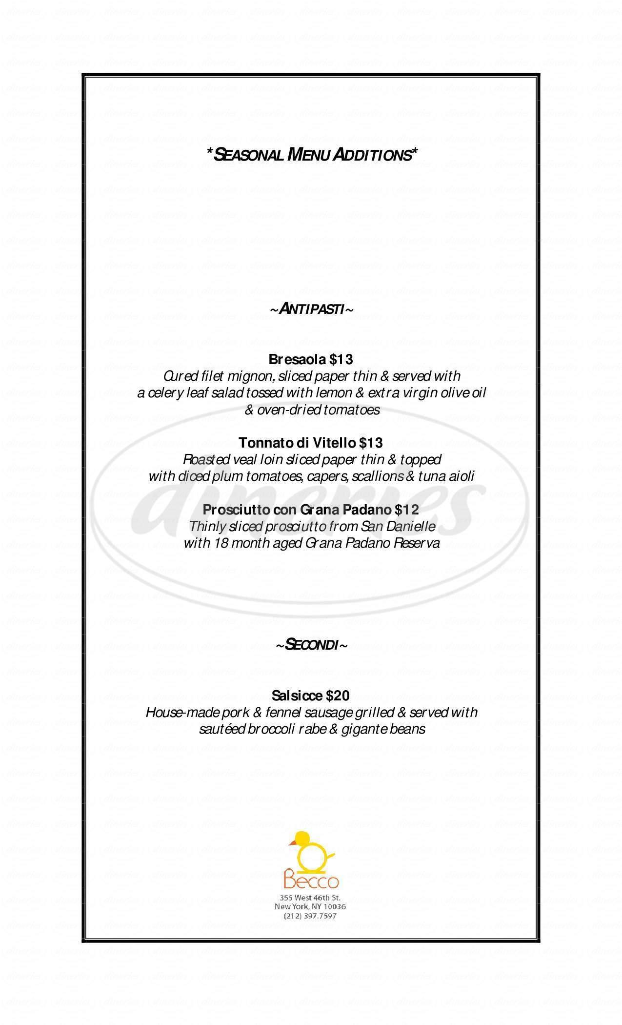 menu for Becco Restaurant