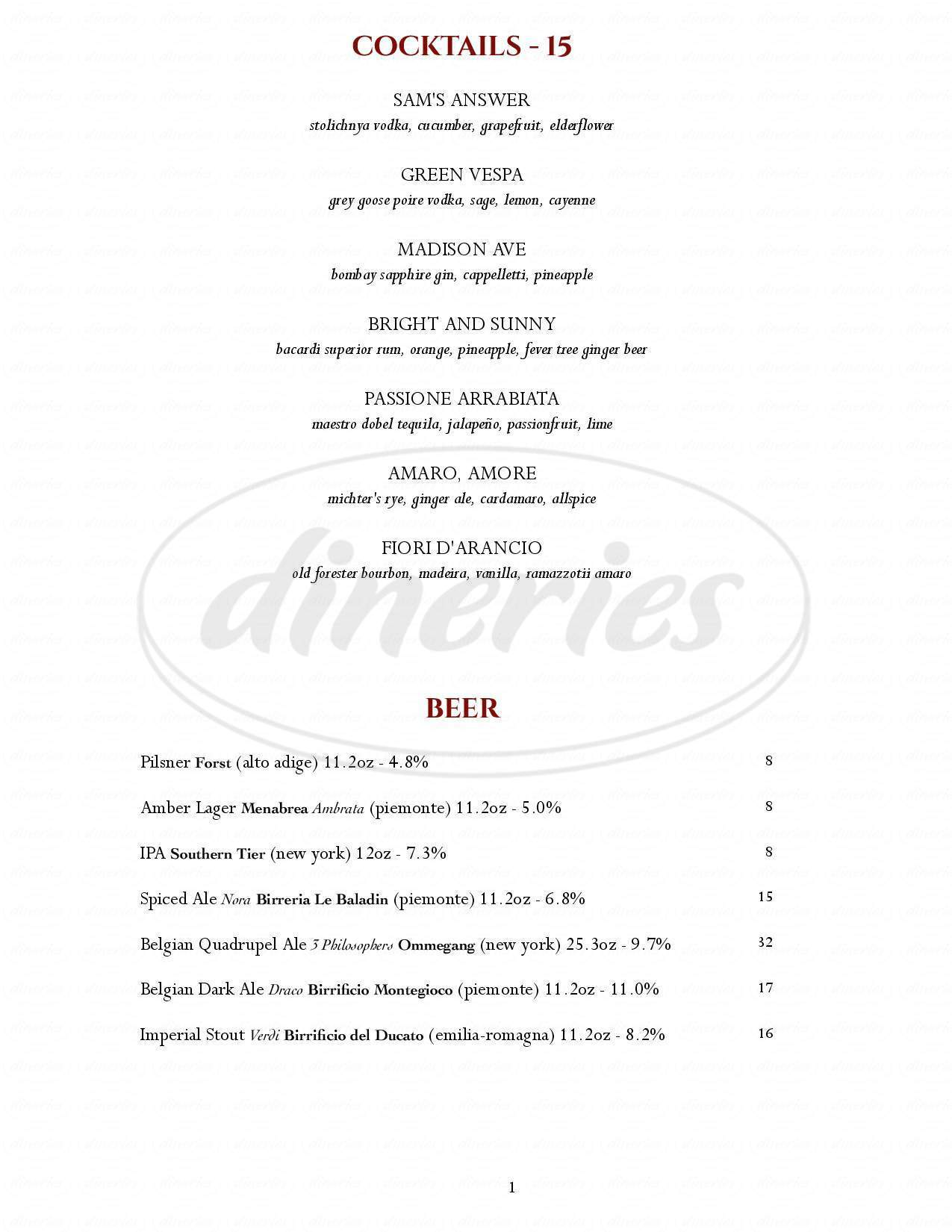 menu for Bedford Post Inn