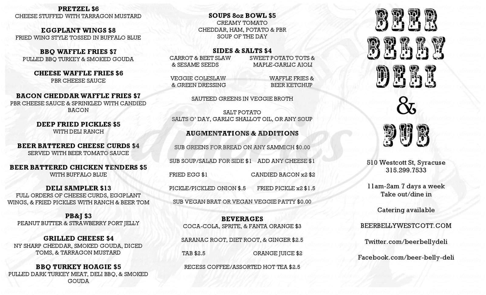 menu for Beer Belly Pub & Deli