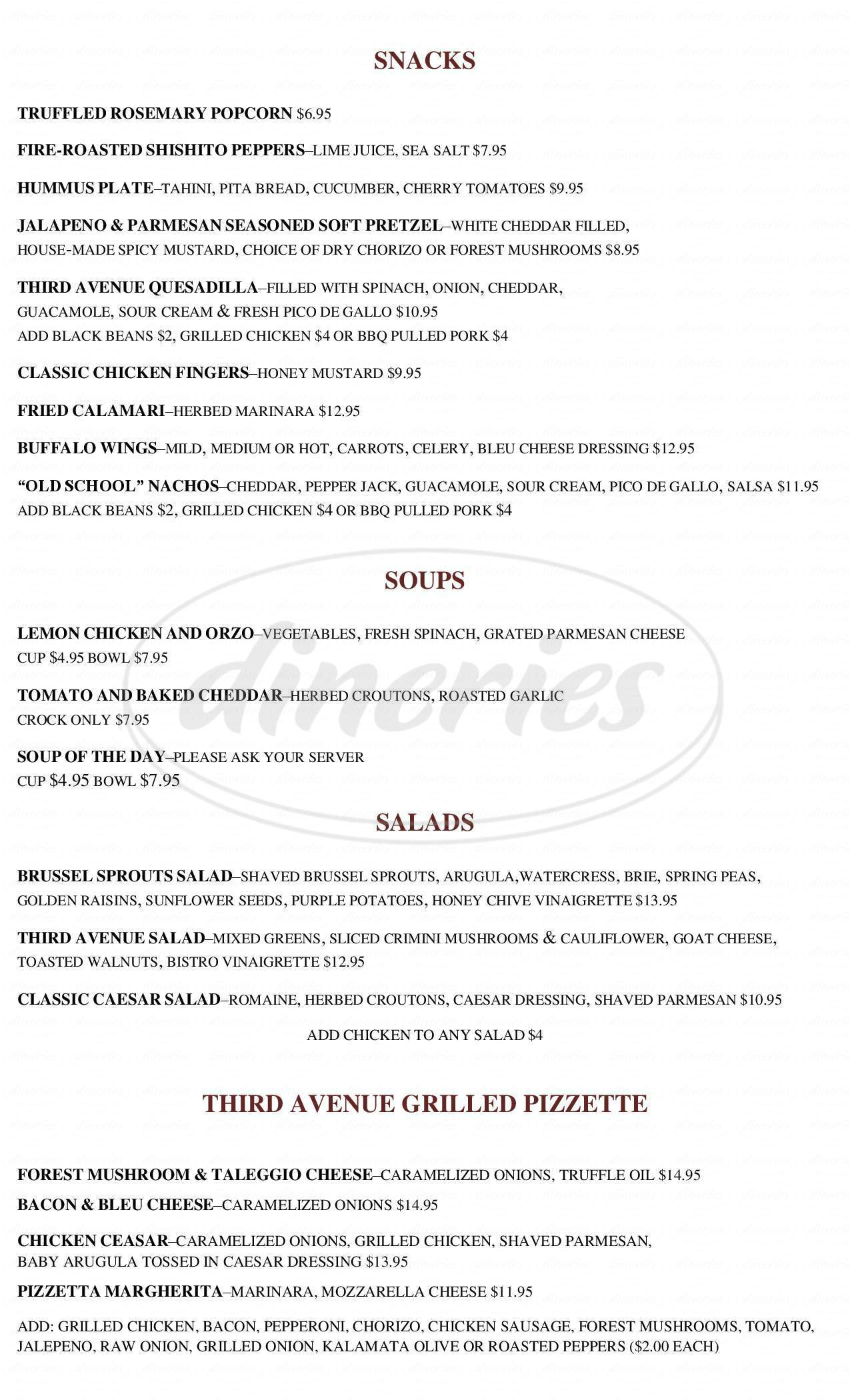 menu for Third Avenue Ale House