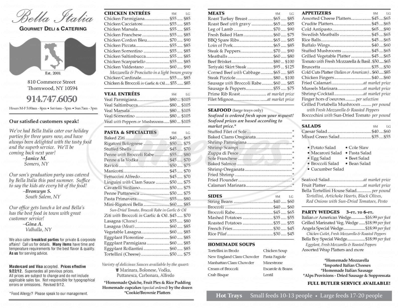 menu for Bella Italia Deli