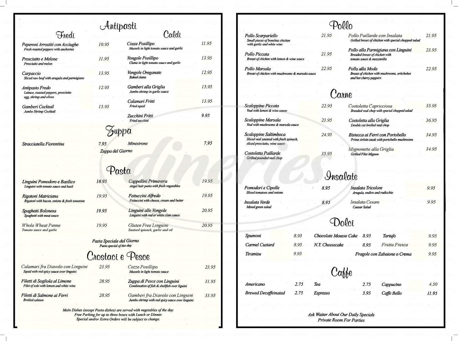 menu for Bello Restaurant