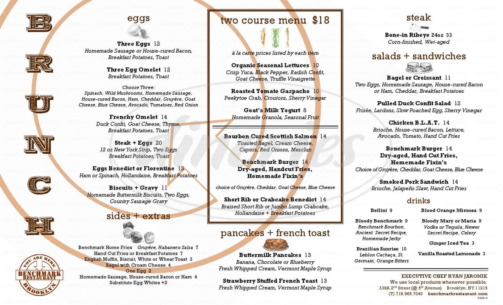 menu for Benchmark