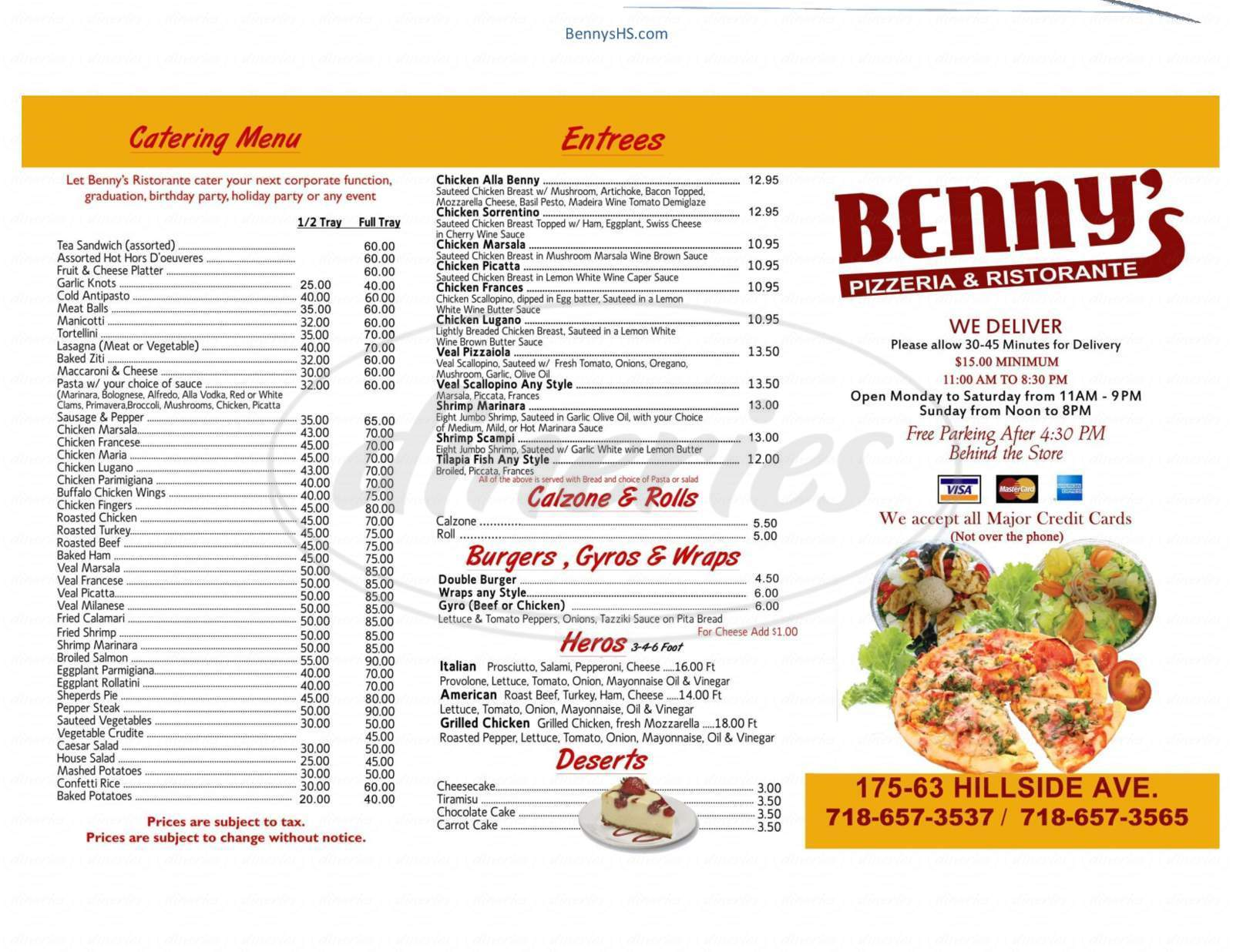menu for Benny's Pizza