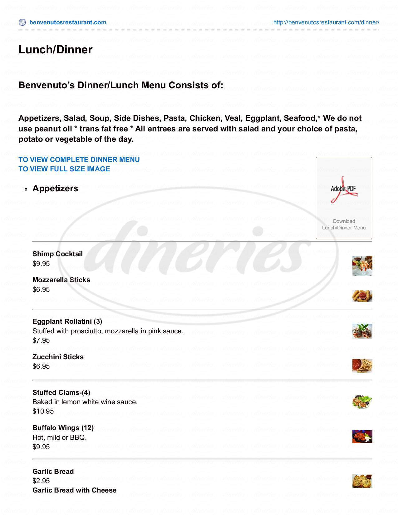 menu for Benvenuto Pizza Restaurant