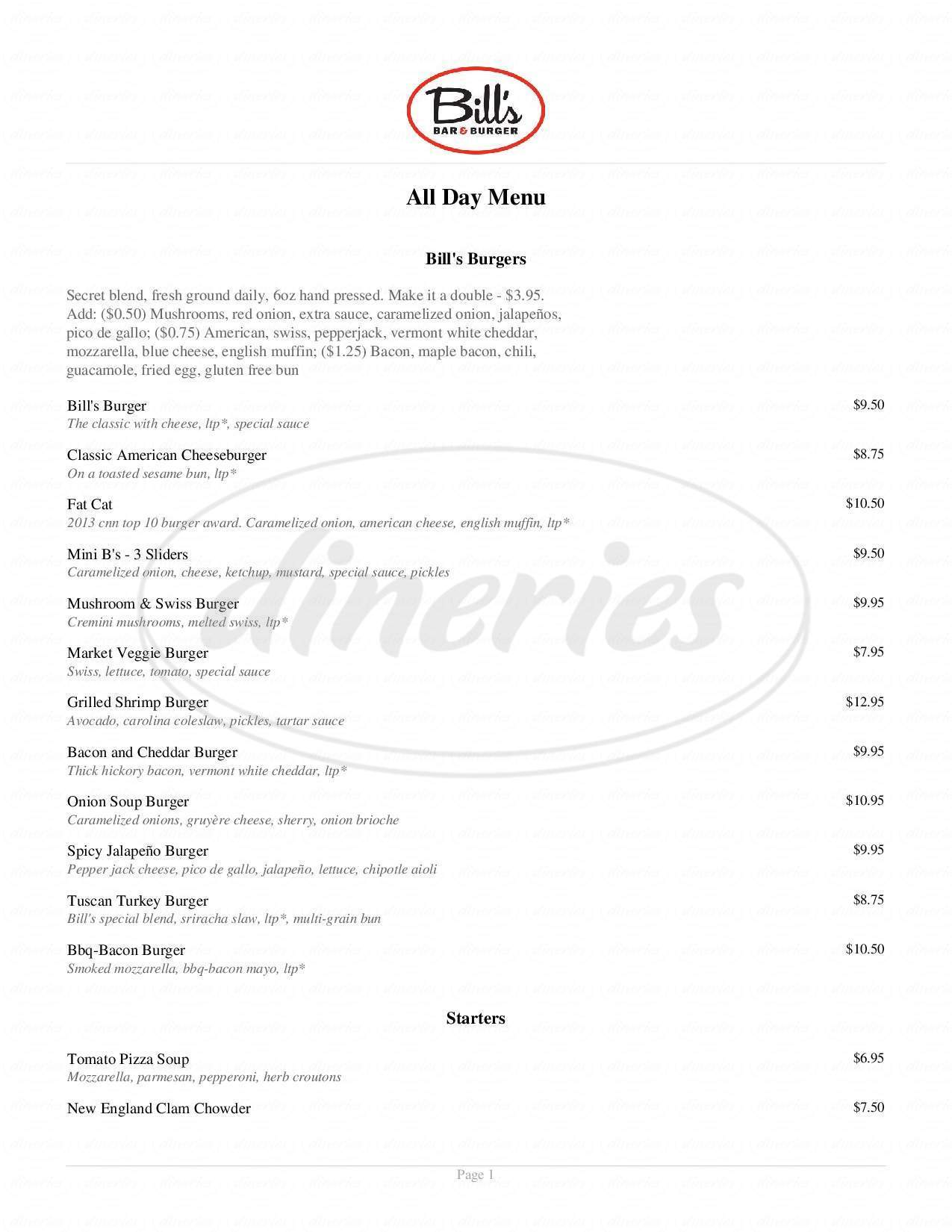 menu for Bill's Bar & Burger