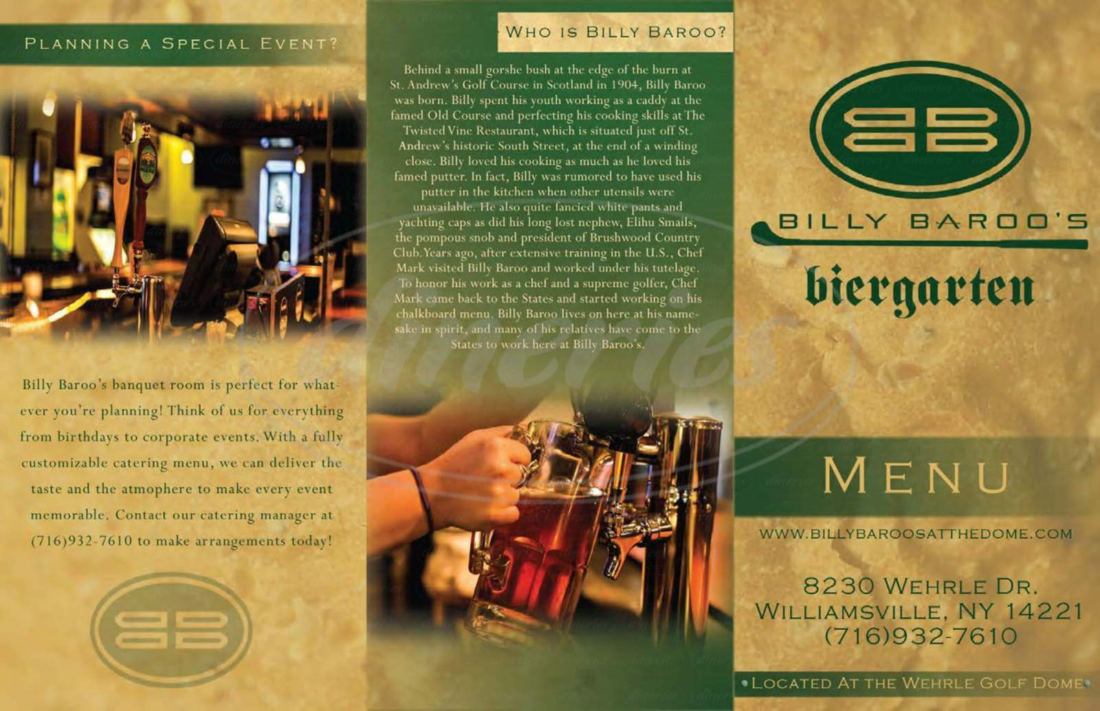 menu for Billy Baroo's Biergarten