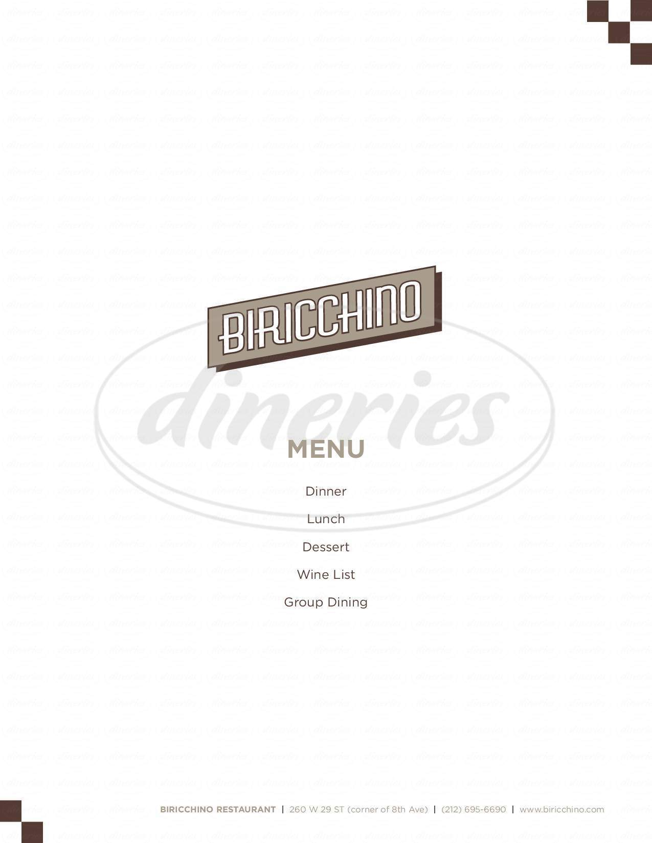 menu for Biricchino Northern Italian Cuisine
