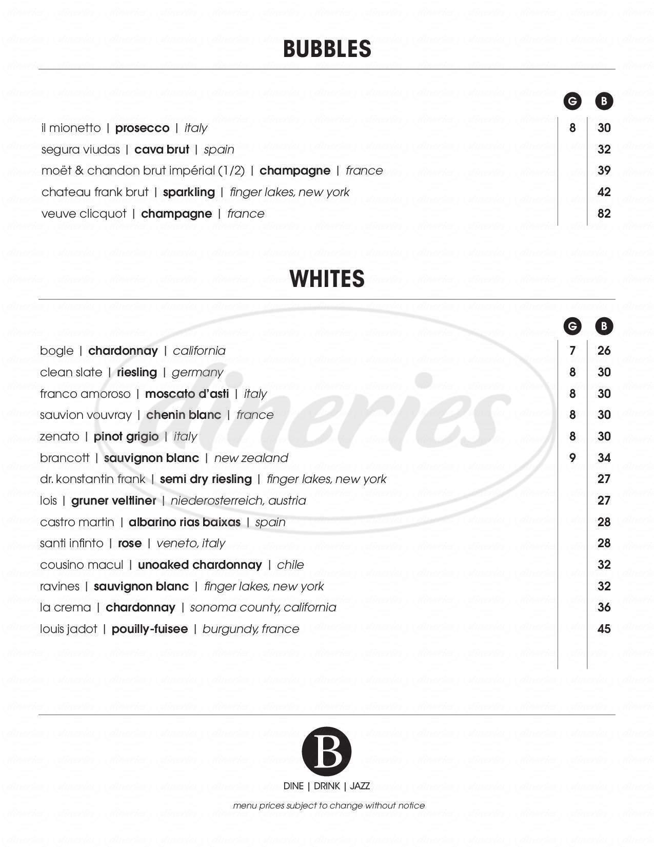 menu for Bistro 135