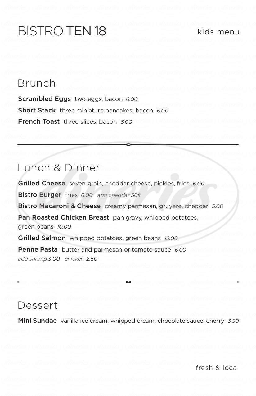 menu for Bistro Ten 18