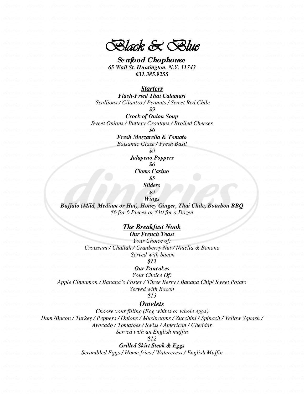 menu for Black and Blue Seafood Chophouse