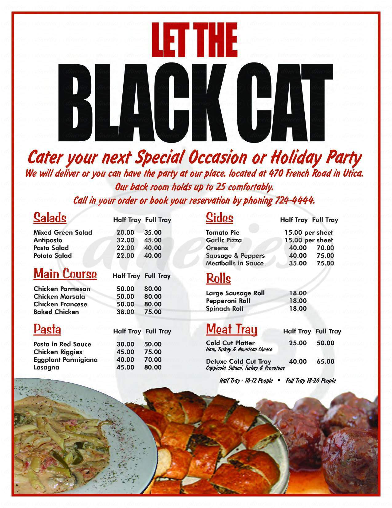 menu for Black Cat Bar & Grill