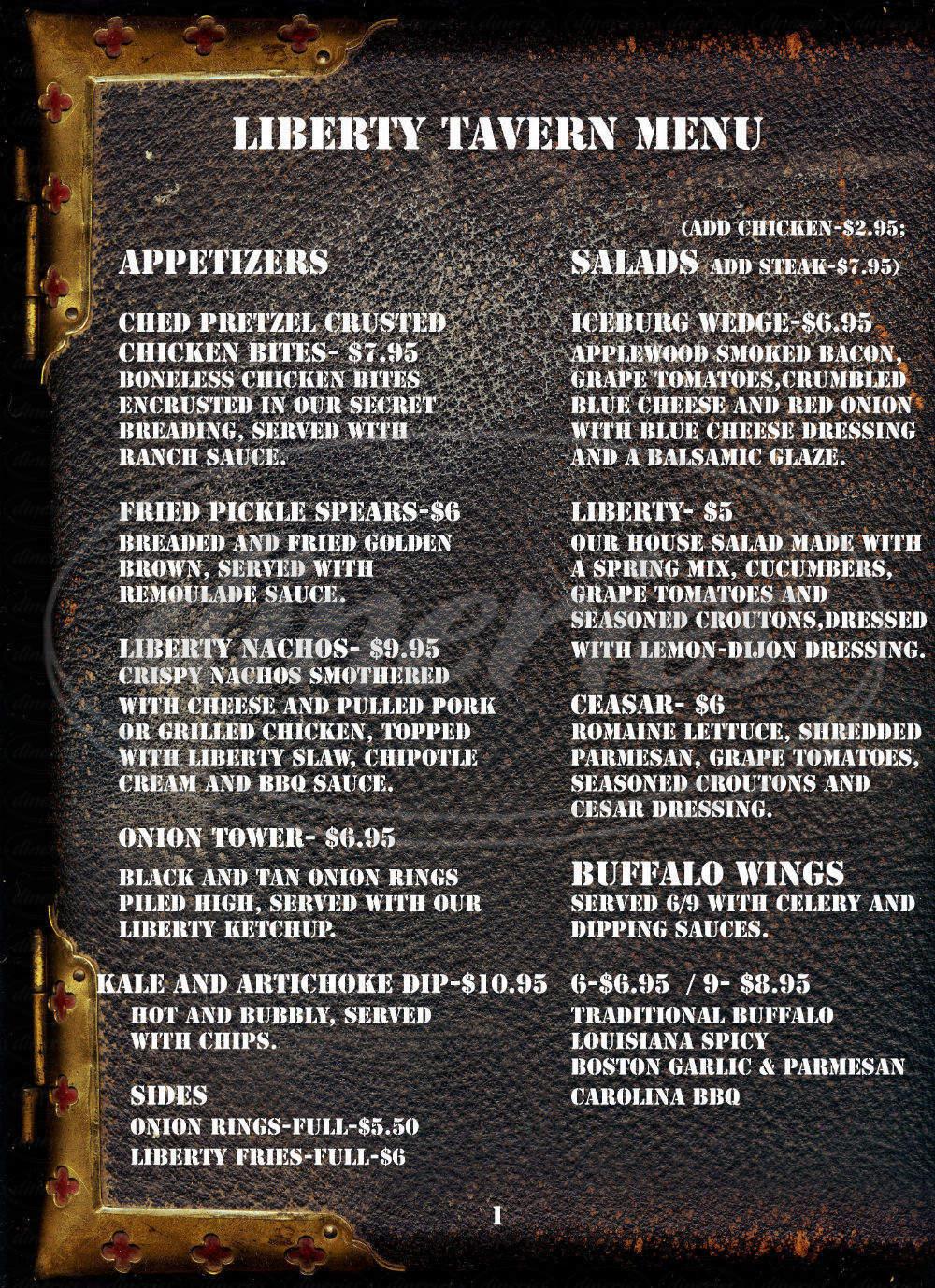 menu for Blackdog Bar