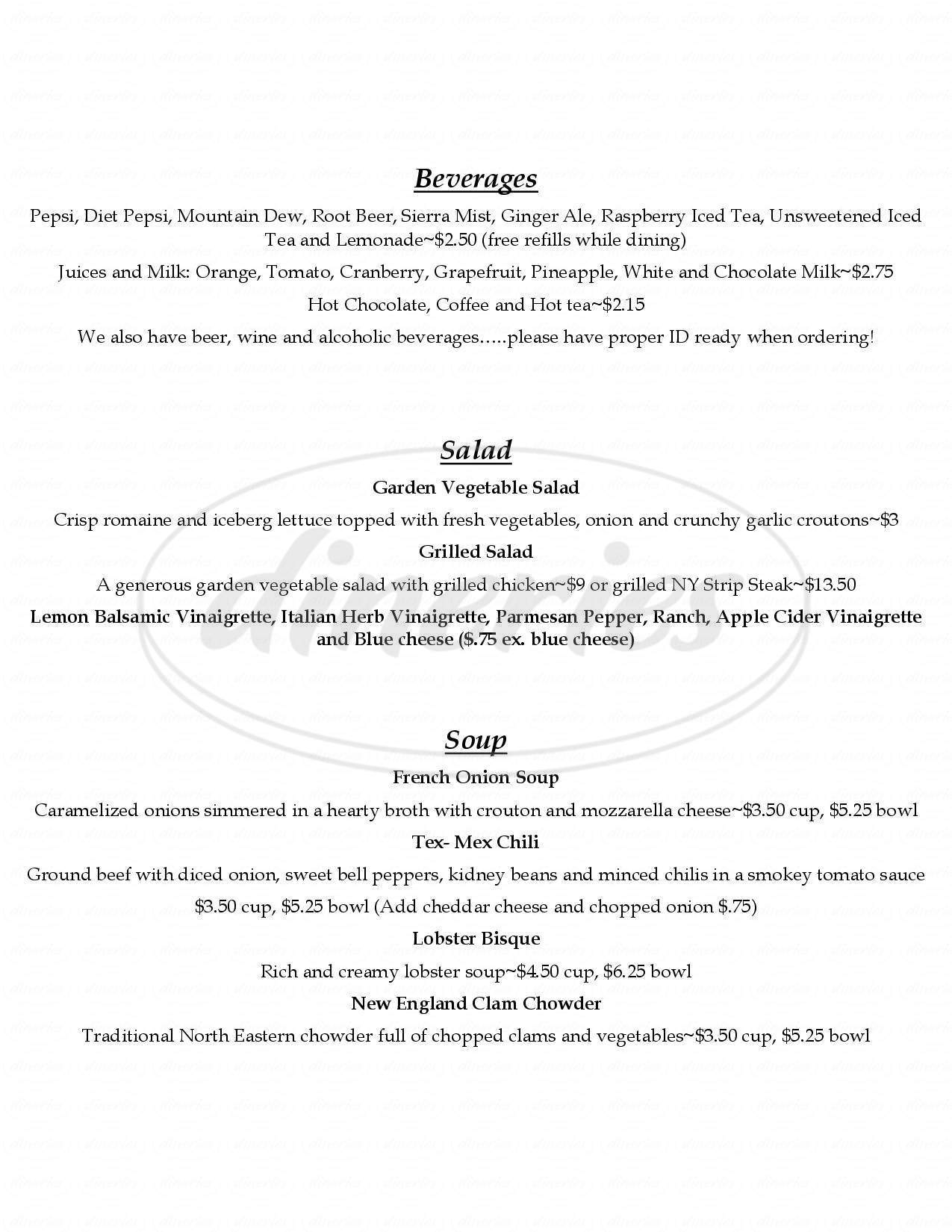 menu for Black North Inn