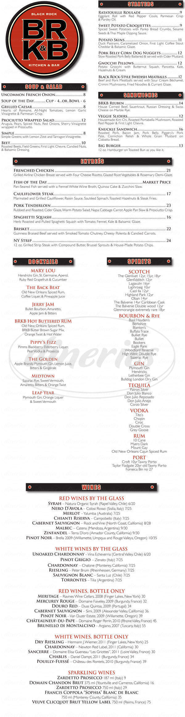menu for Black Rock Kitchen & Bar