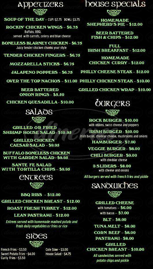 menu for The Blarney Rock Pub