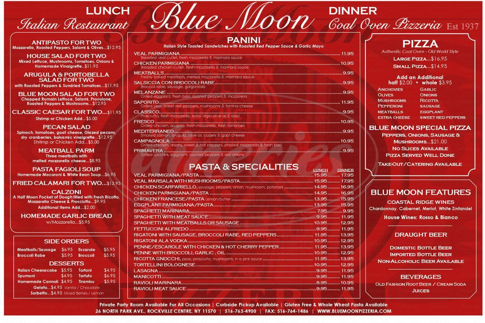 menu for Blue Moon