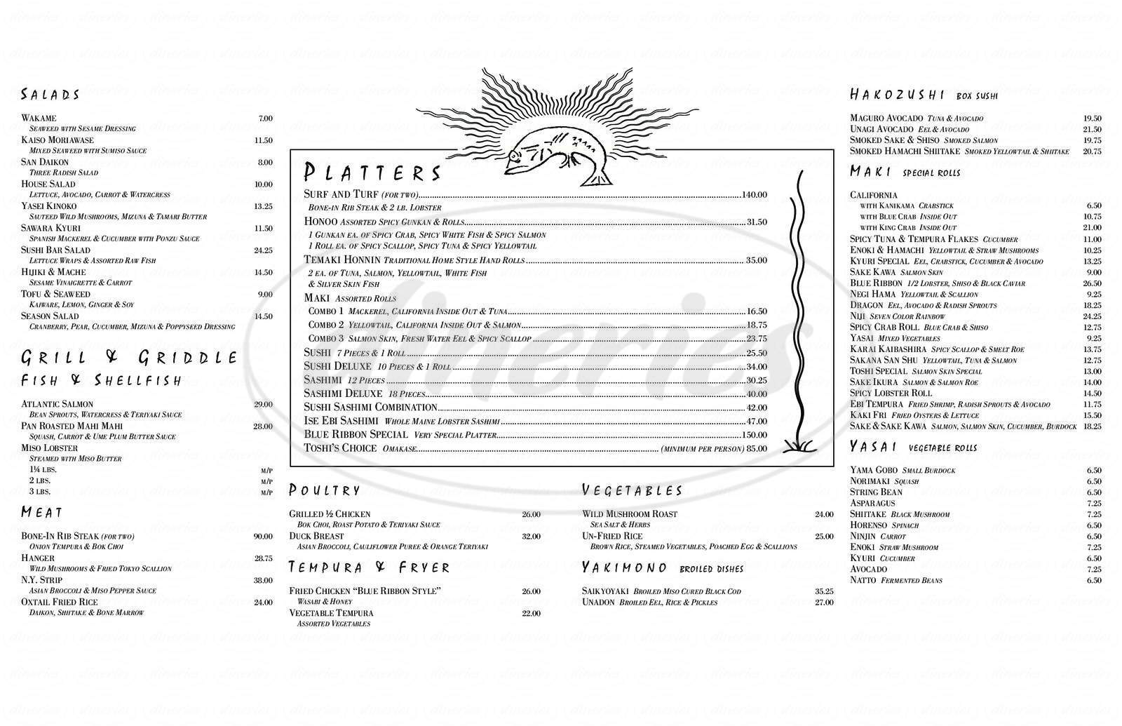 menu for Blue Ribbon Sushi Bar & Grill