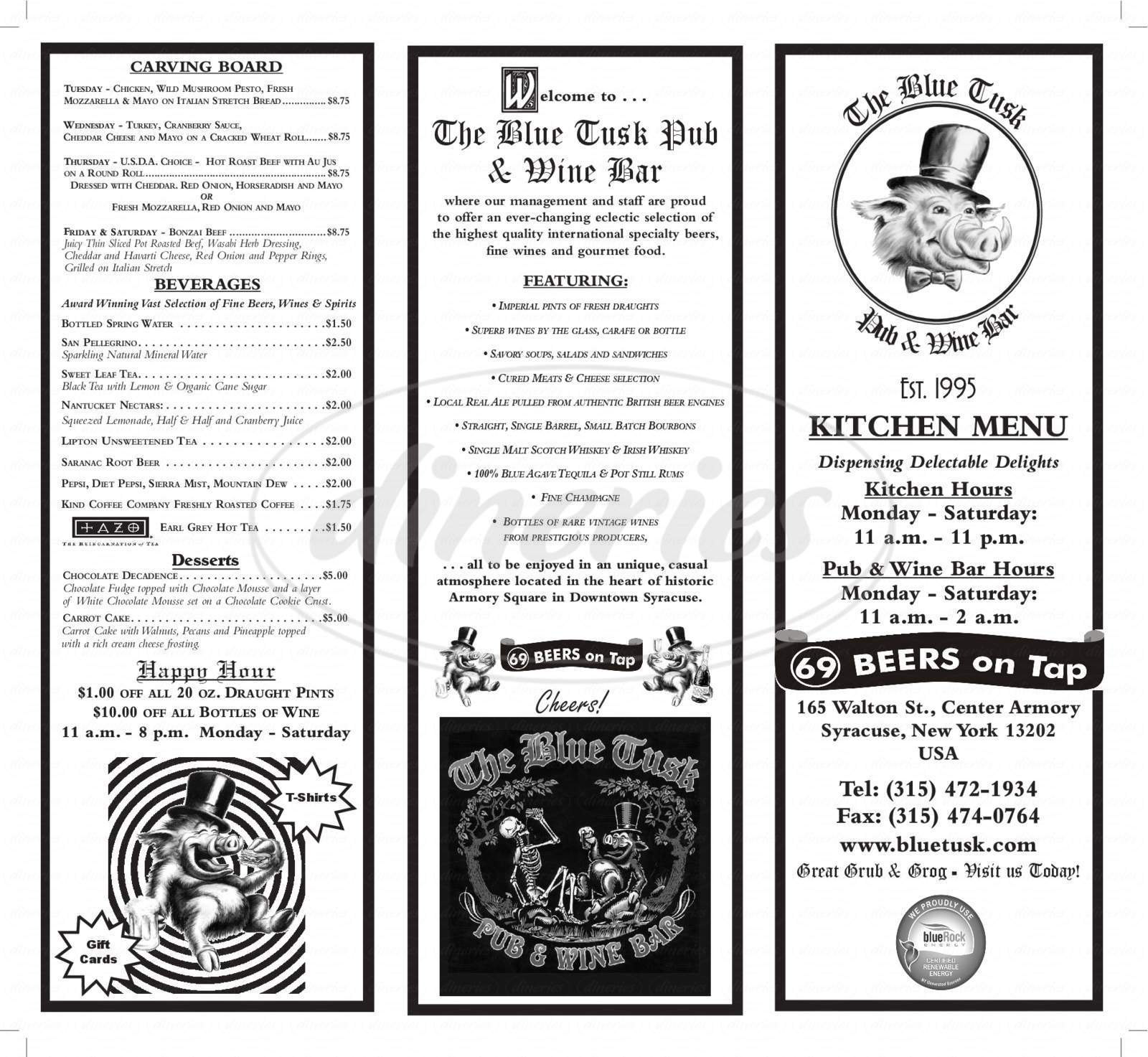 menu for The Blue Tusk