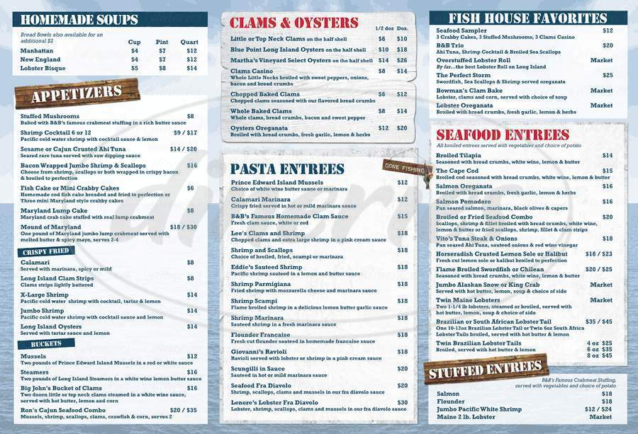 menu for B & B Fish & Clam Co