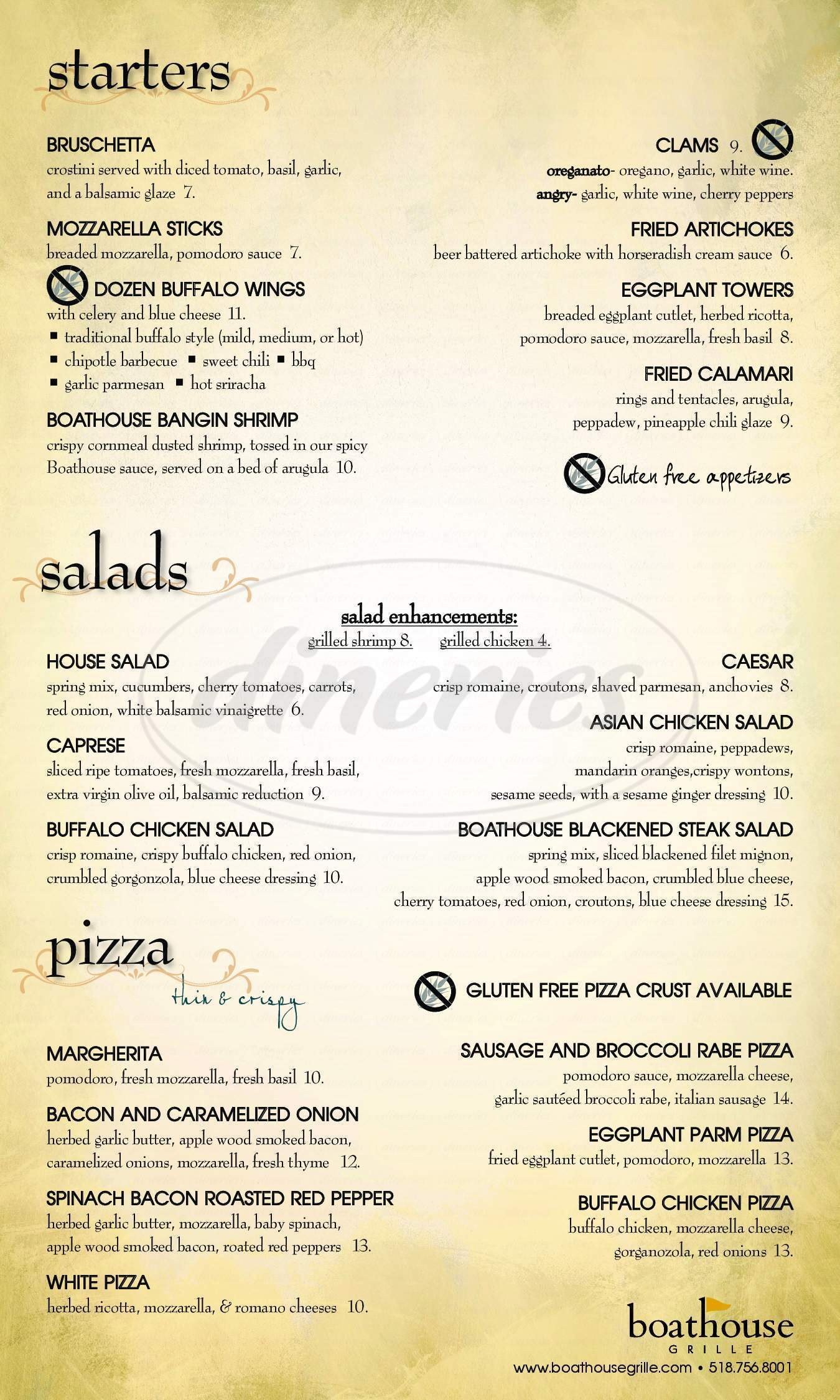 menu for Boathouse Grille