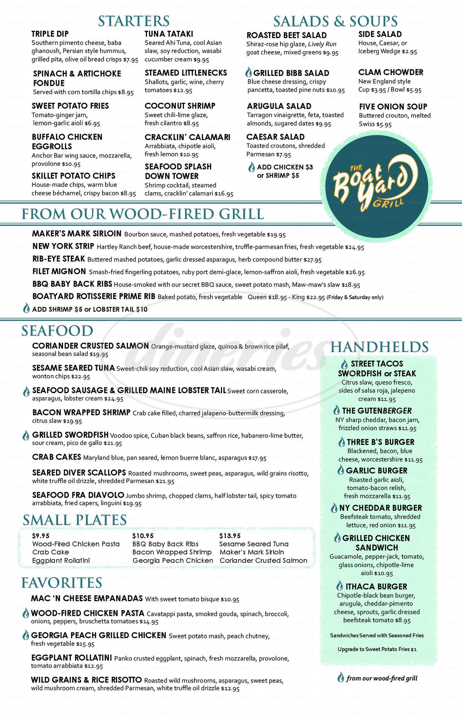 menu for The BoatYard Grill