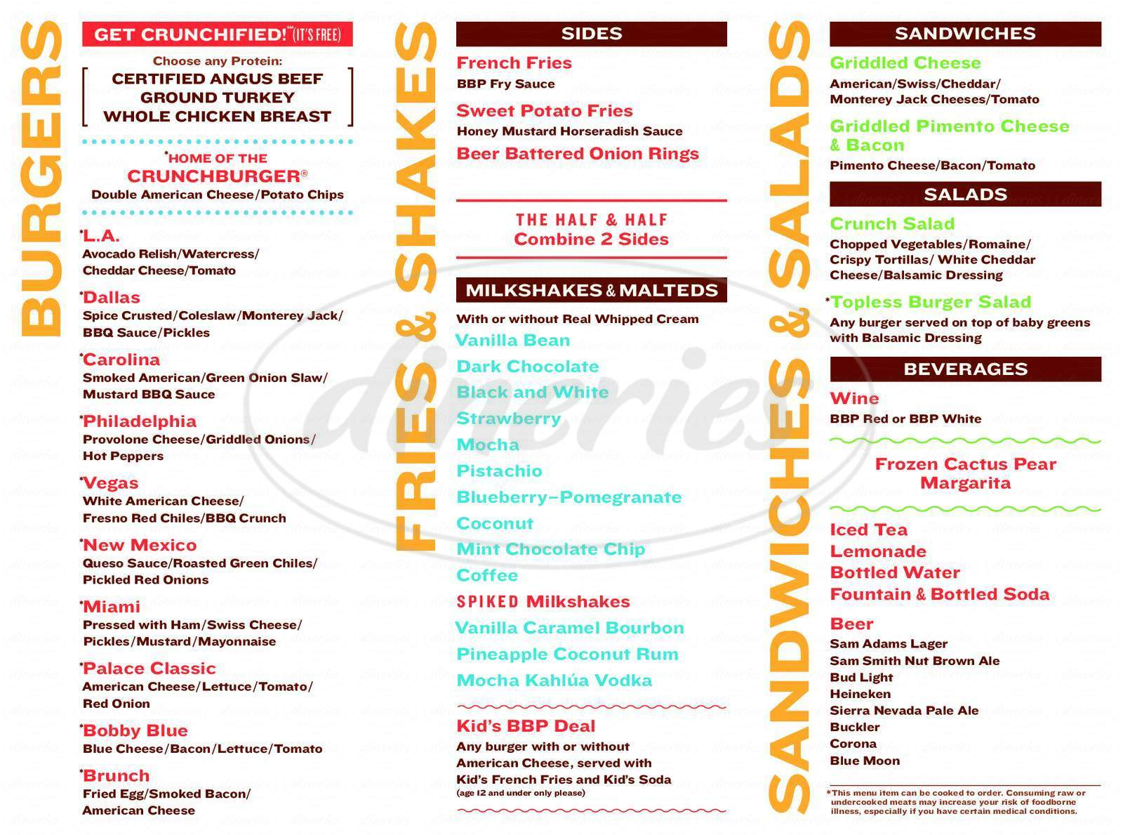menu for Bobby's Burger Palace