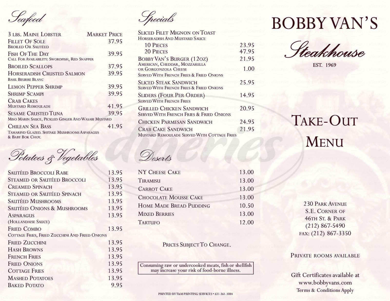 menu for Bobby Van's Steakhouse