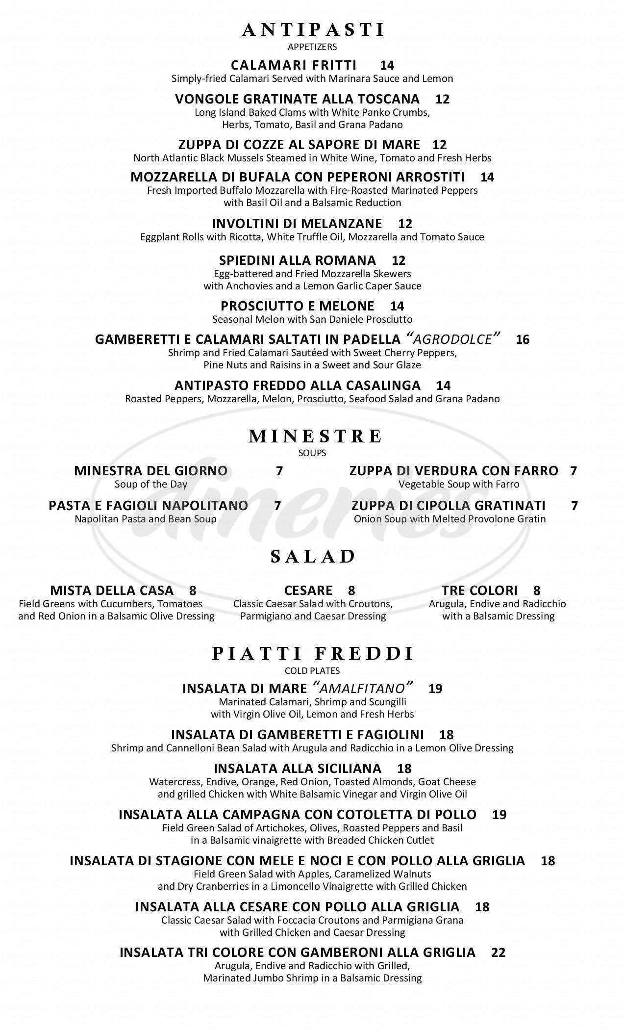 menu for Bocelli