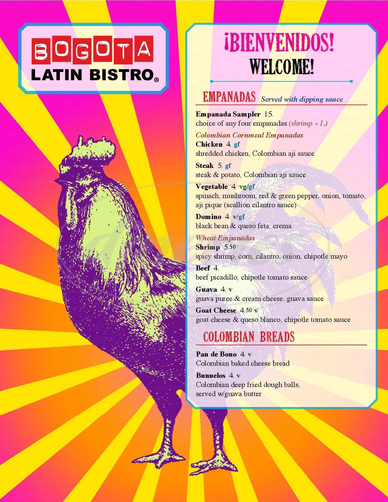 menu for Bogota Latin Bistro