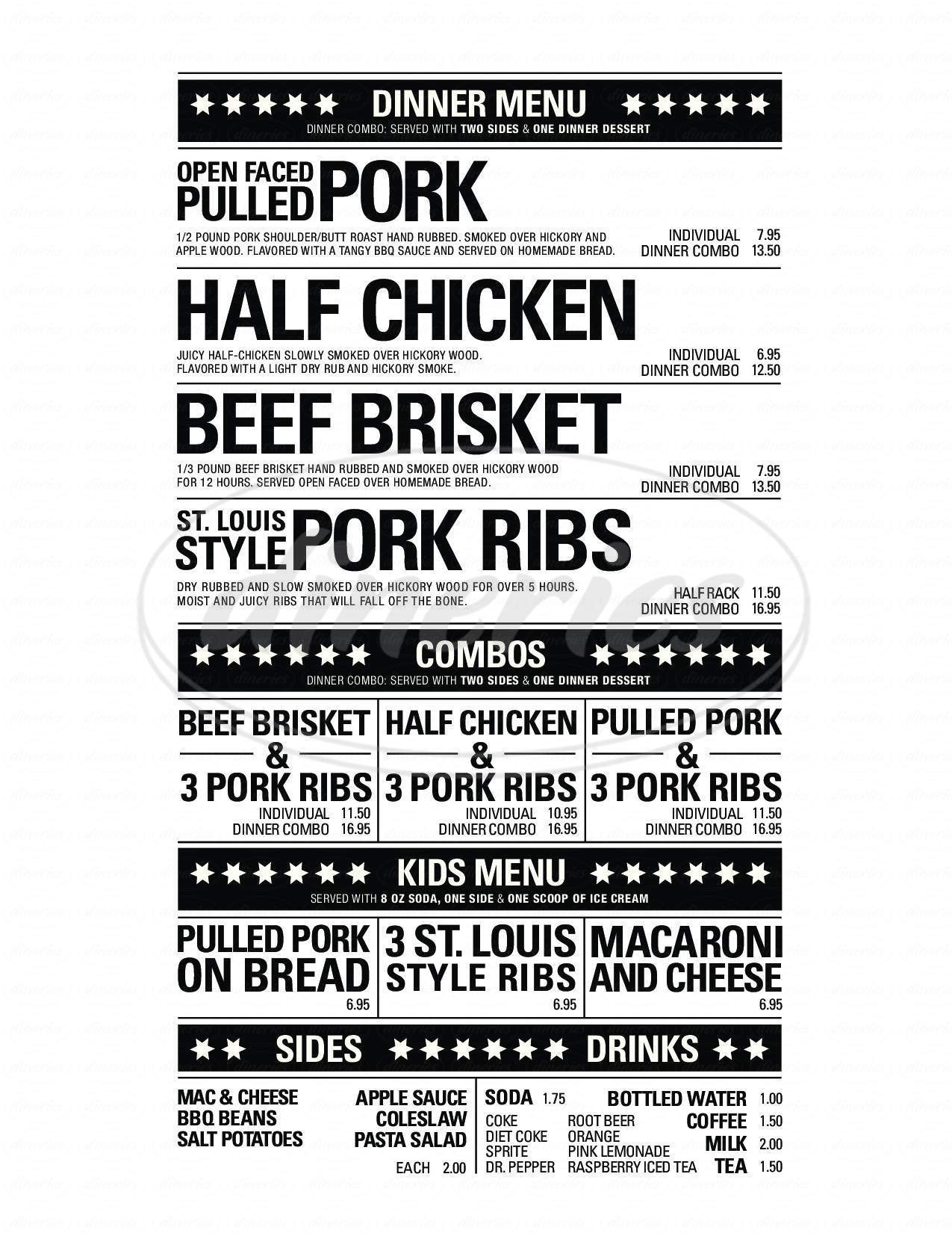 menu for Bone Appetit BBQ