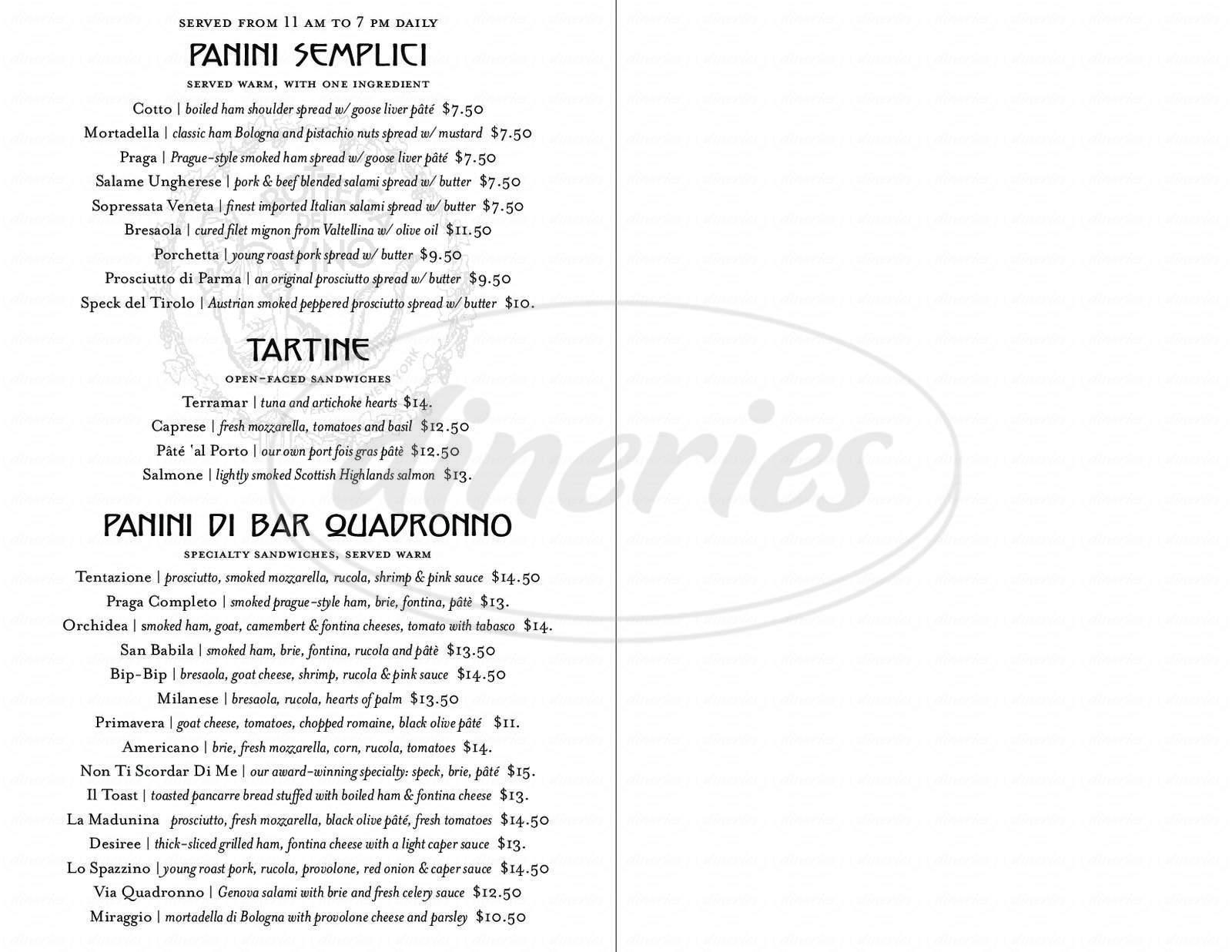 menu for Bottega Del Vino