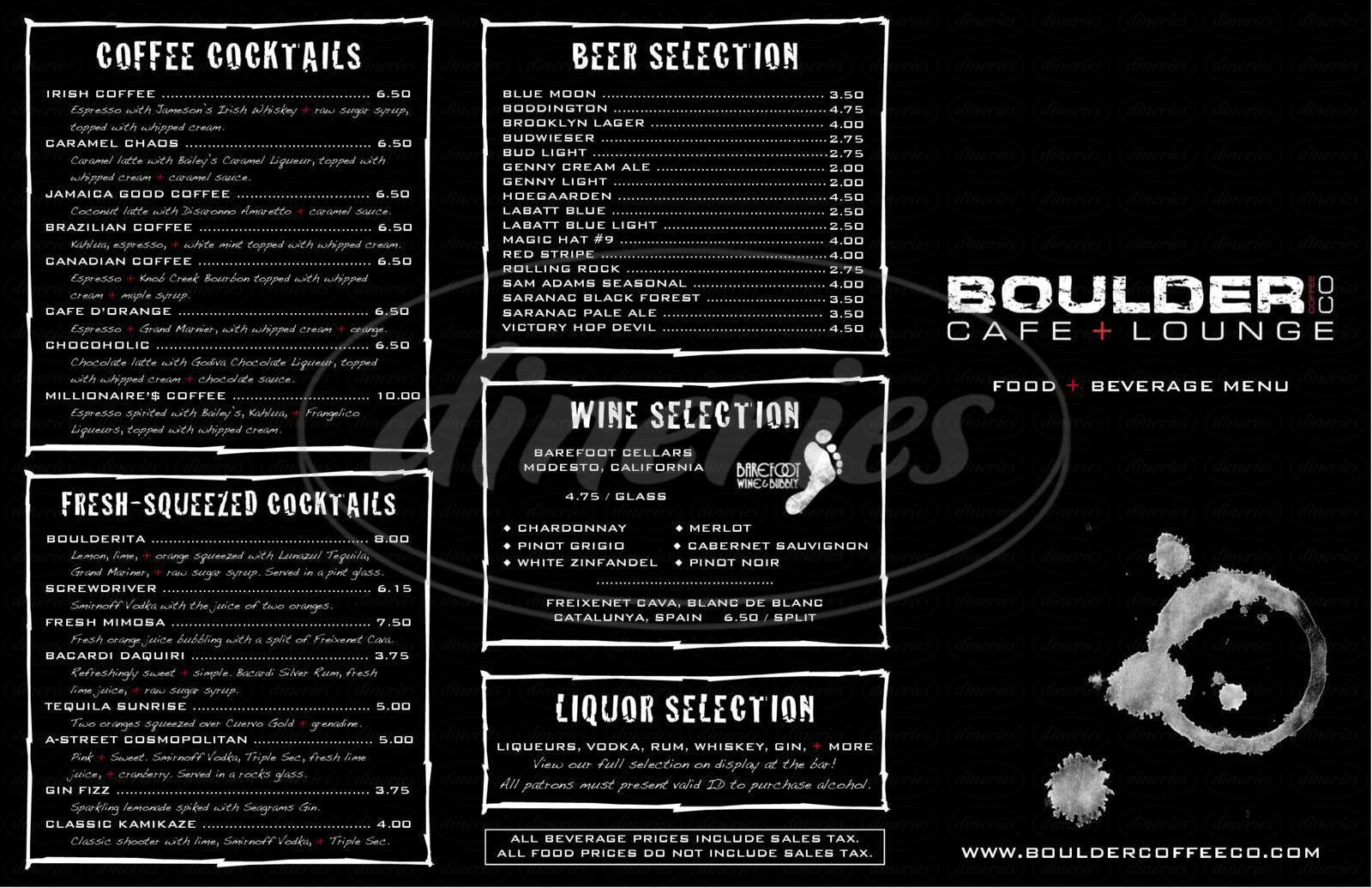 menu for Boulder Coffee Co.