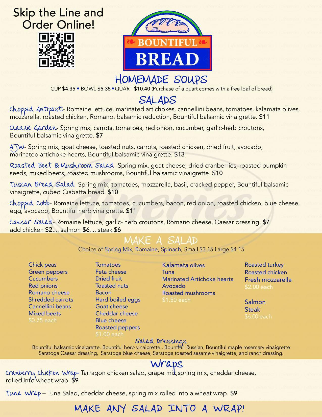menu for Bountiful Bread