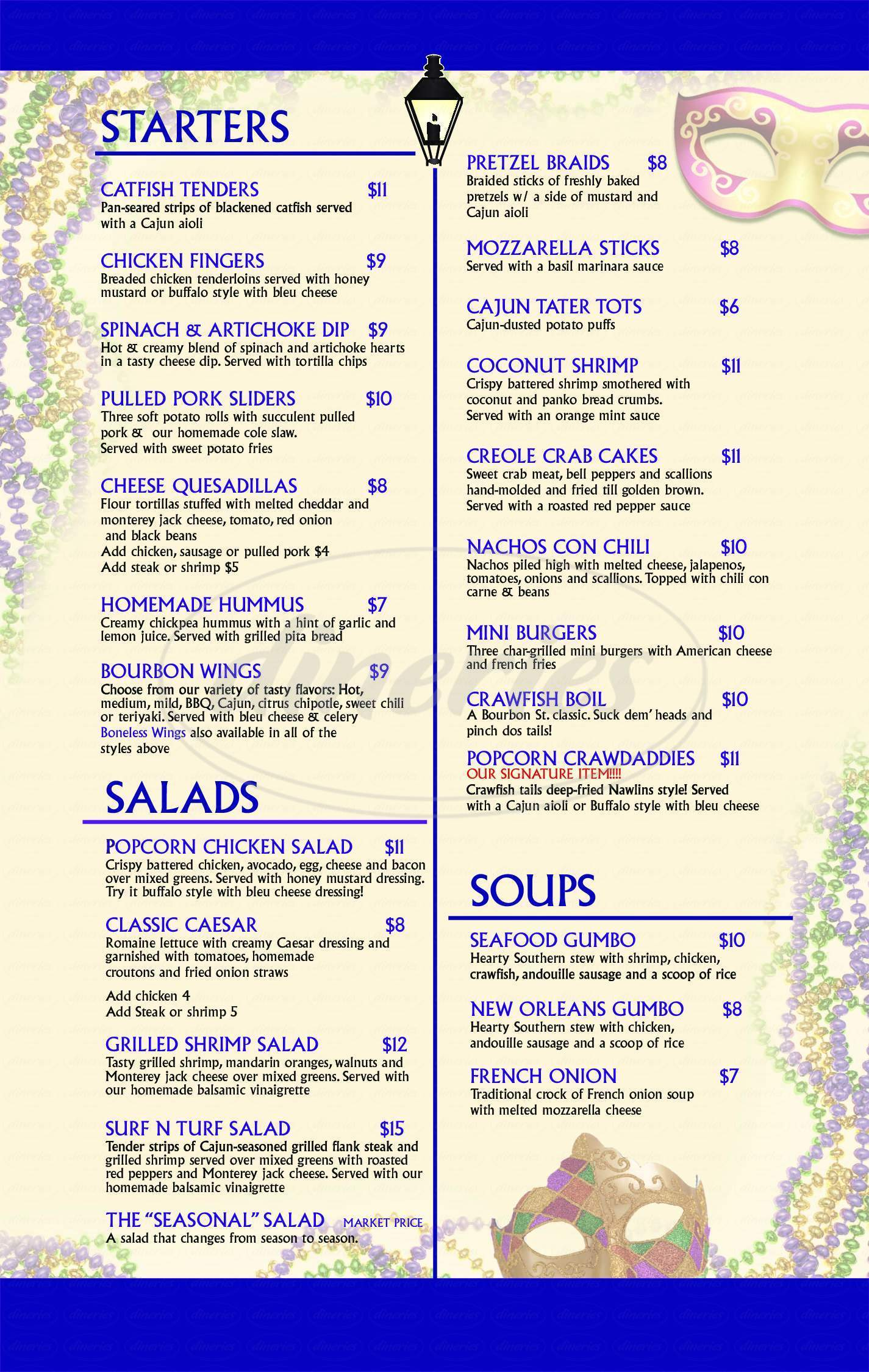 menu for Bourbon Street of Nyack
