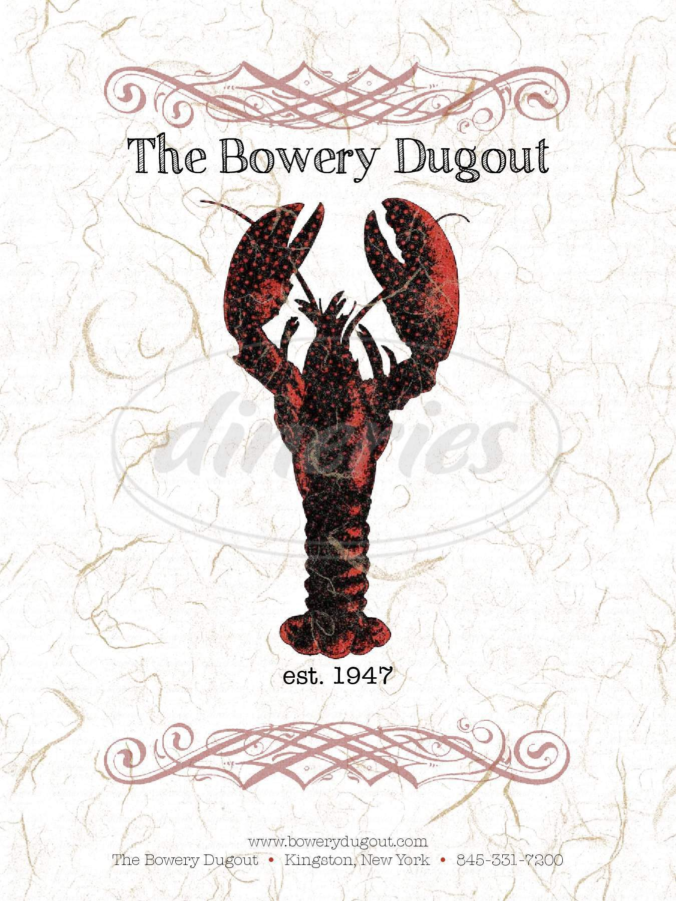 menu for Bowery Dugout the