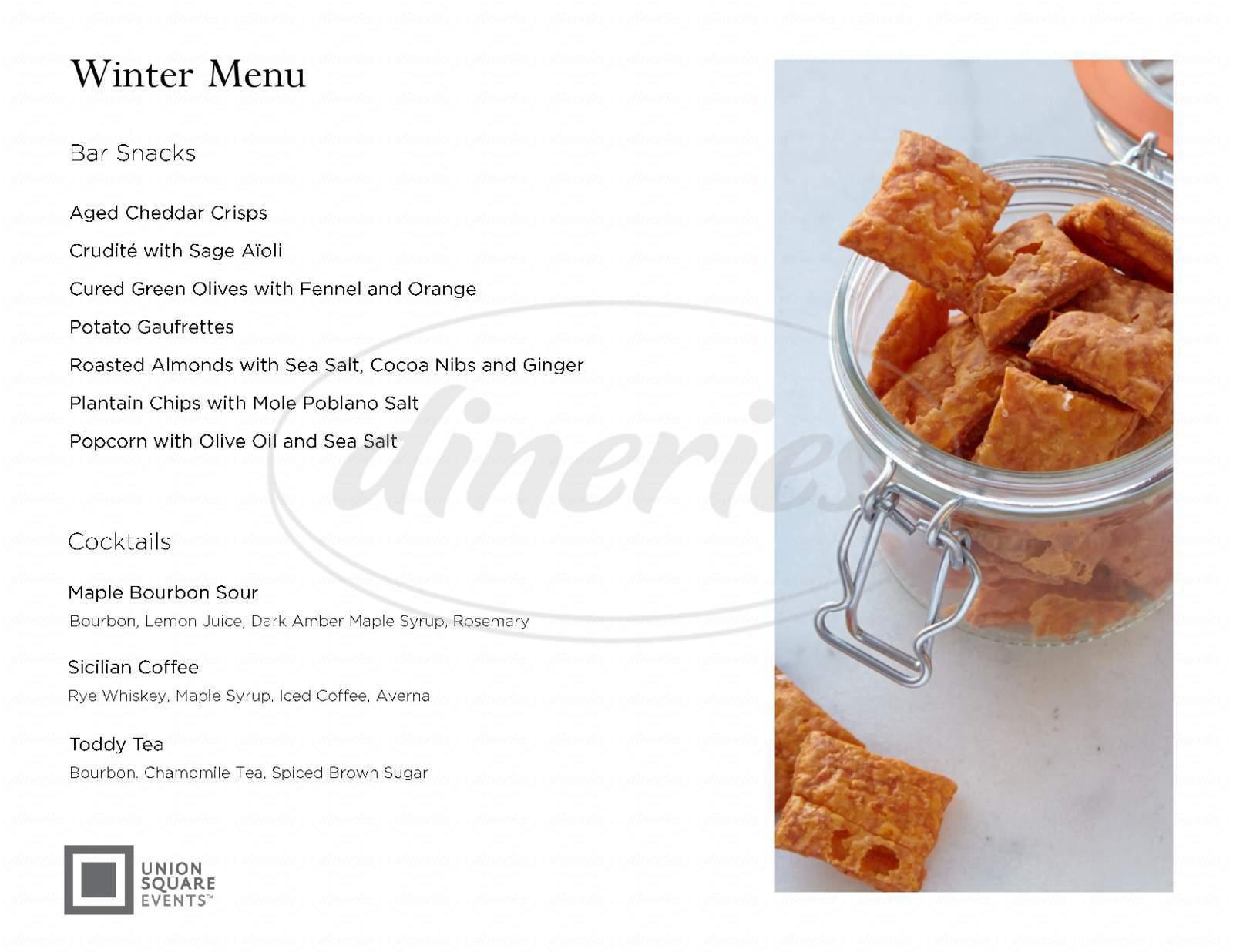 menu for Box Frites