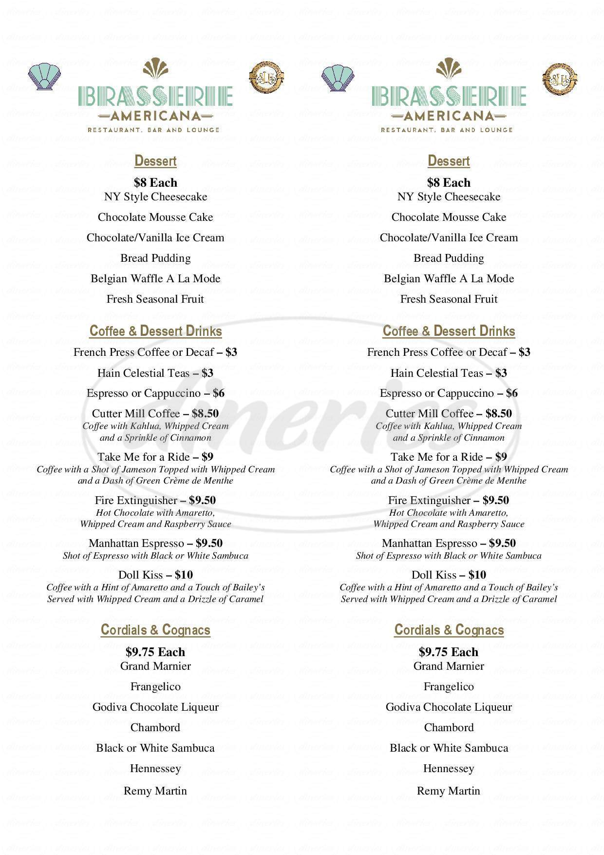menu for Brasserie Americana